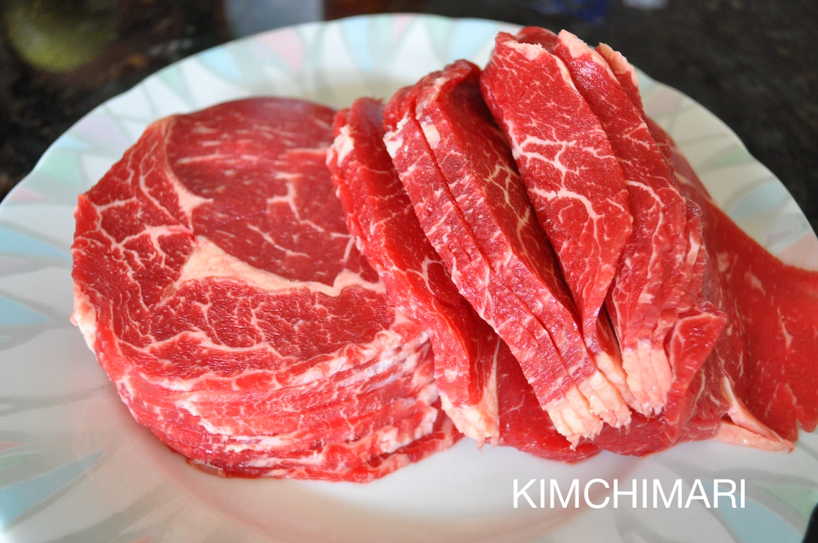 Raw beef sirloin sliced thin for bulgogi