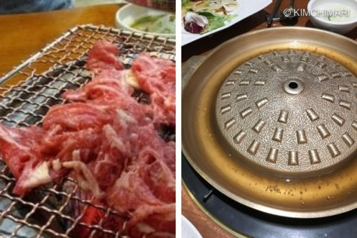 pics of 2 different bulgogi grills - mesh grid and steel domed pan with rim