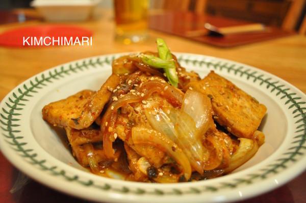 Tofu braised in soy mirin sauce (Dubu Jorim)