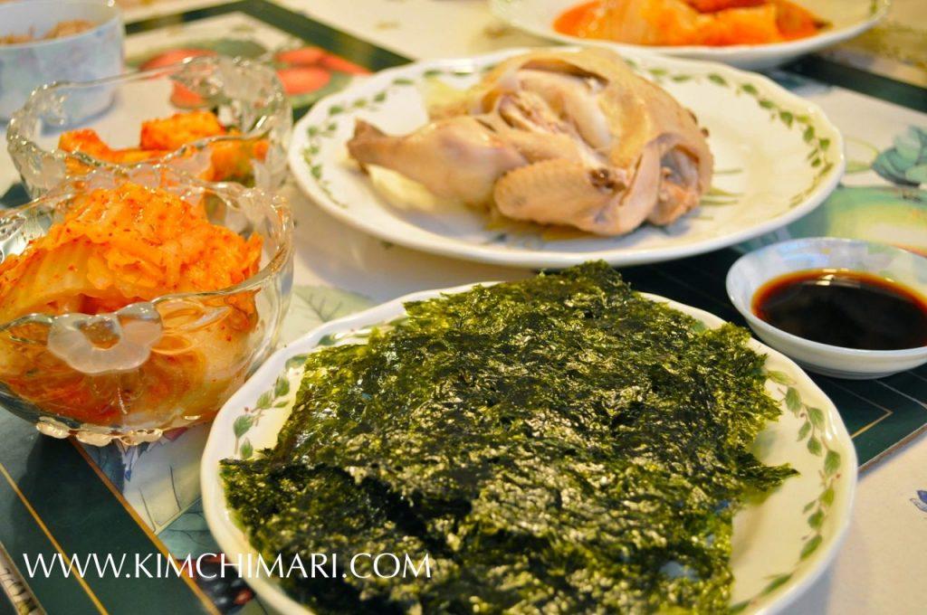 Yeong gye baek suk (Korean chicken soup) dinner with kimchi