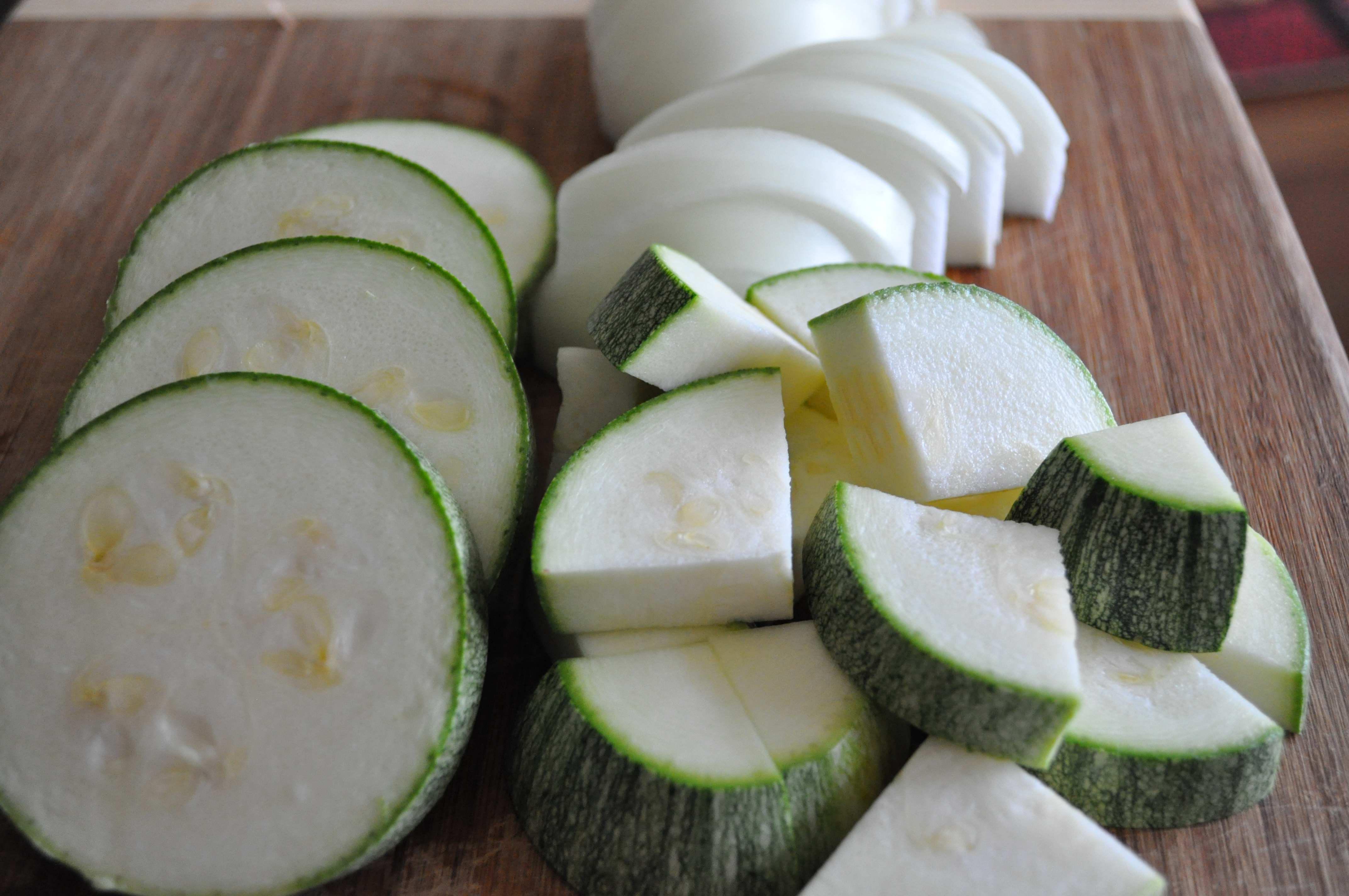 Korean zucchini, onions
