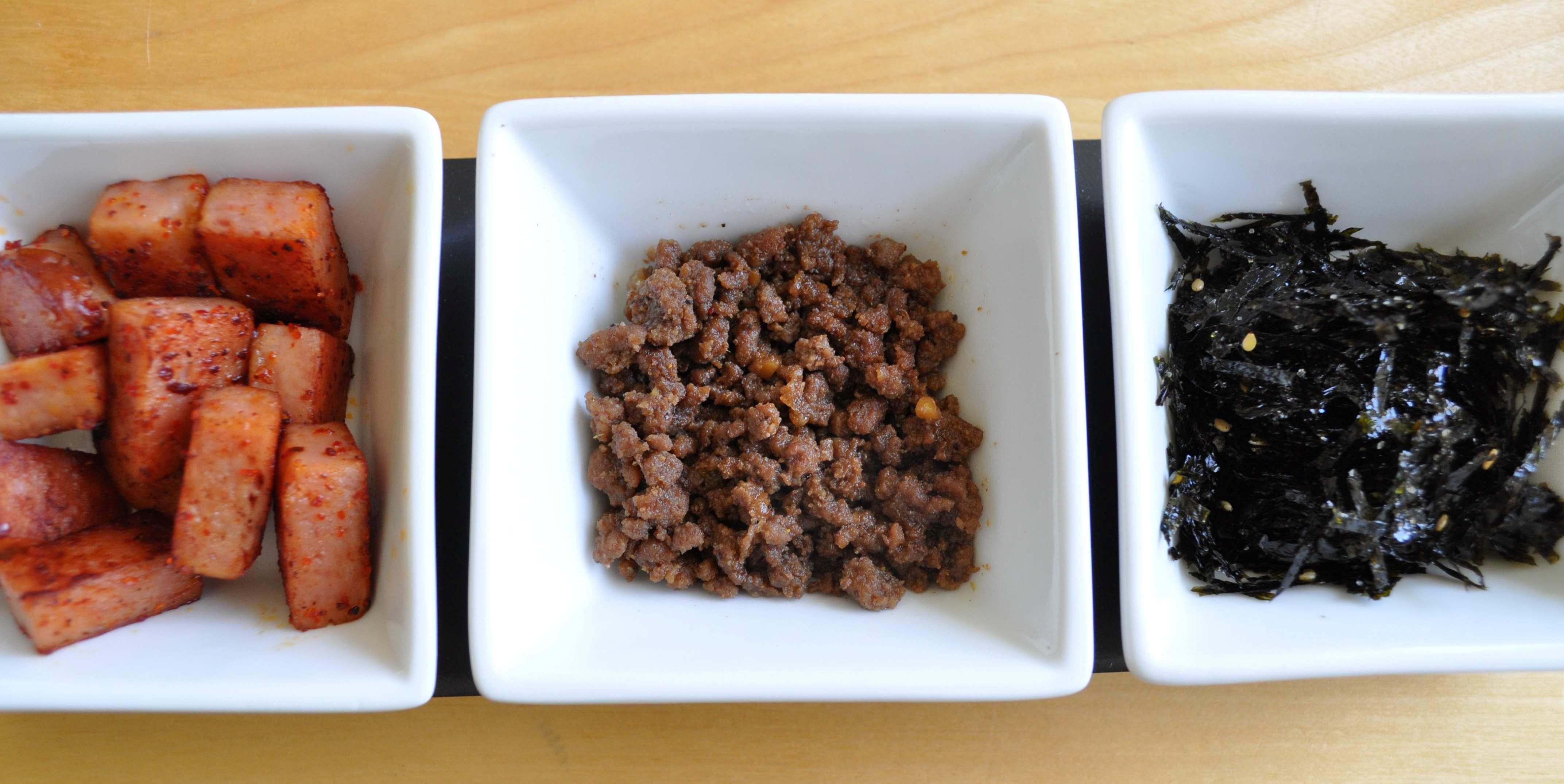 Fillings - Spam, Ground Beef, Seasoned Seaweed