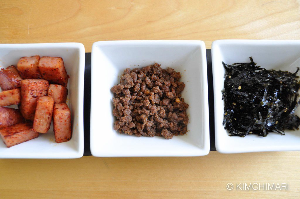 spam ground beef seaweed for rice balls