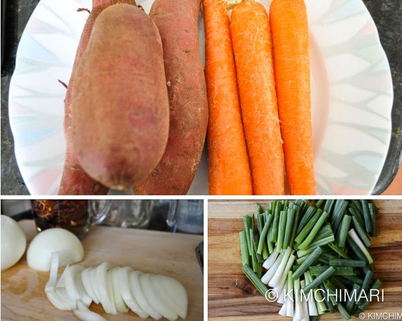 sweet potato, carrots, green onions, onions being cut into sticks