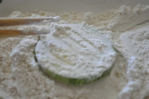 zucchini coated with flour