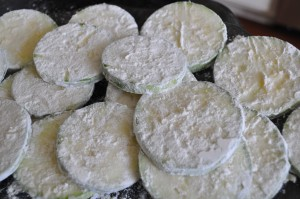 zucchini all coated with flour!