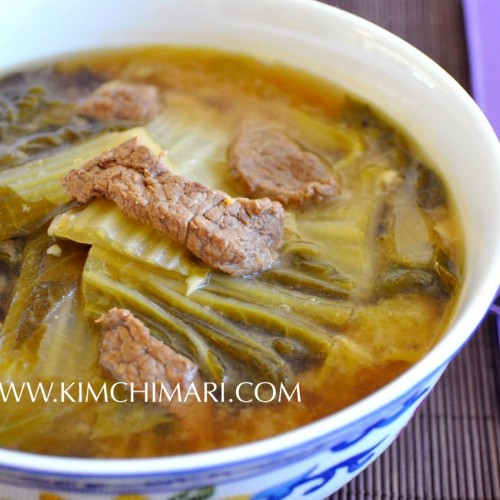 Korean Cabbage soup or Baechu Deonjang Guk