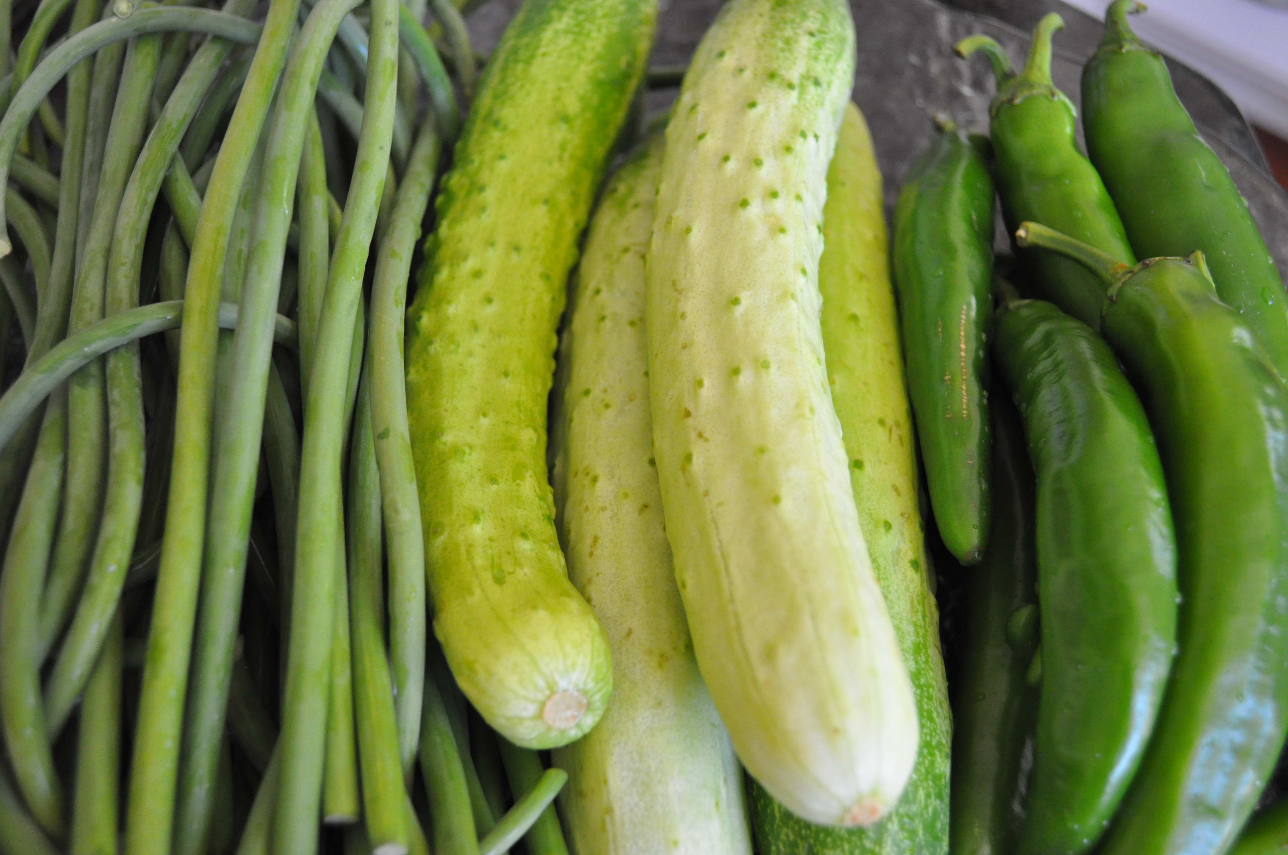 garlic stems, cucumbers, green chili peppers