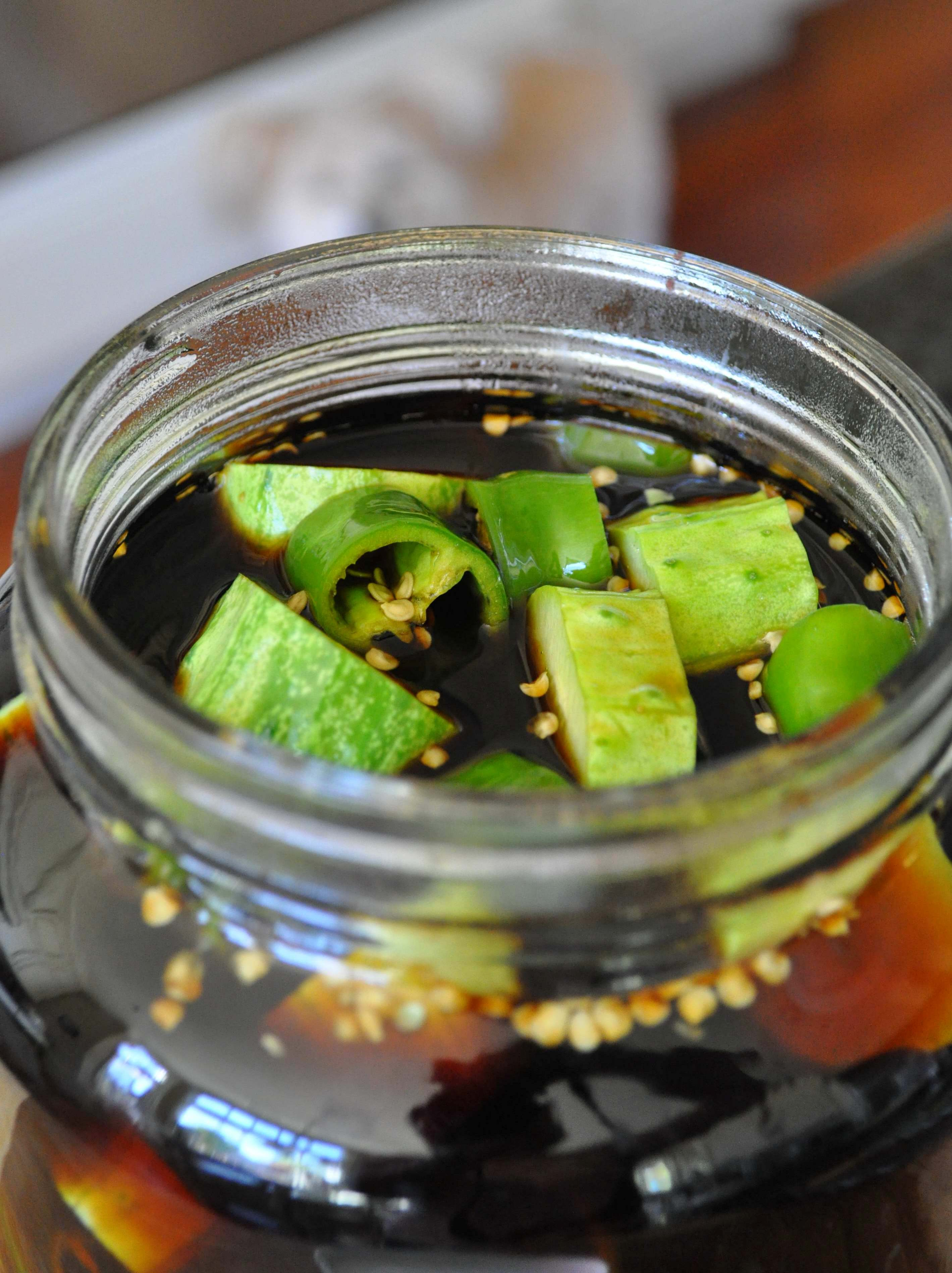 jar of Korean cucumber pickles in soy sauce