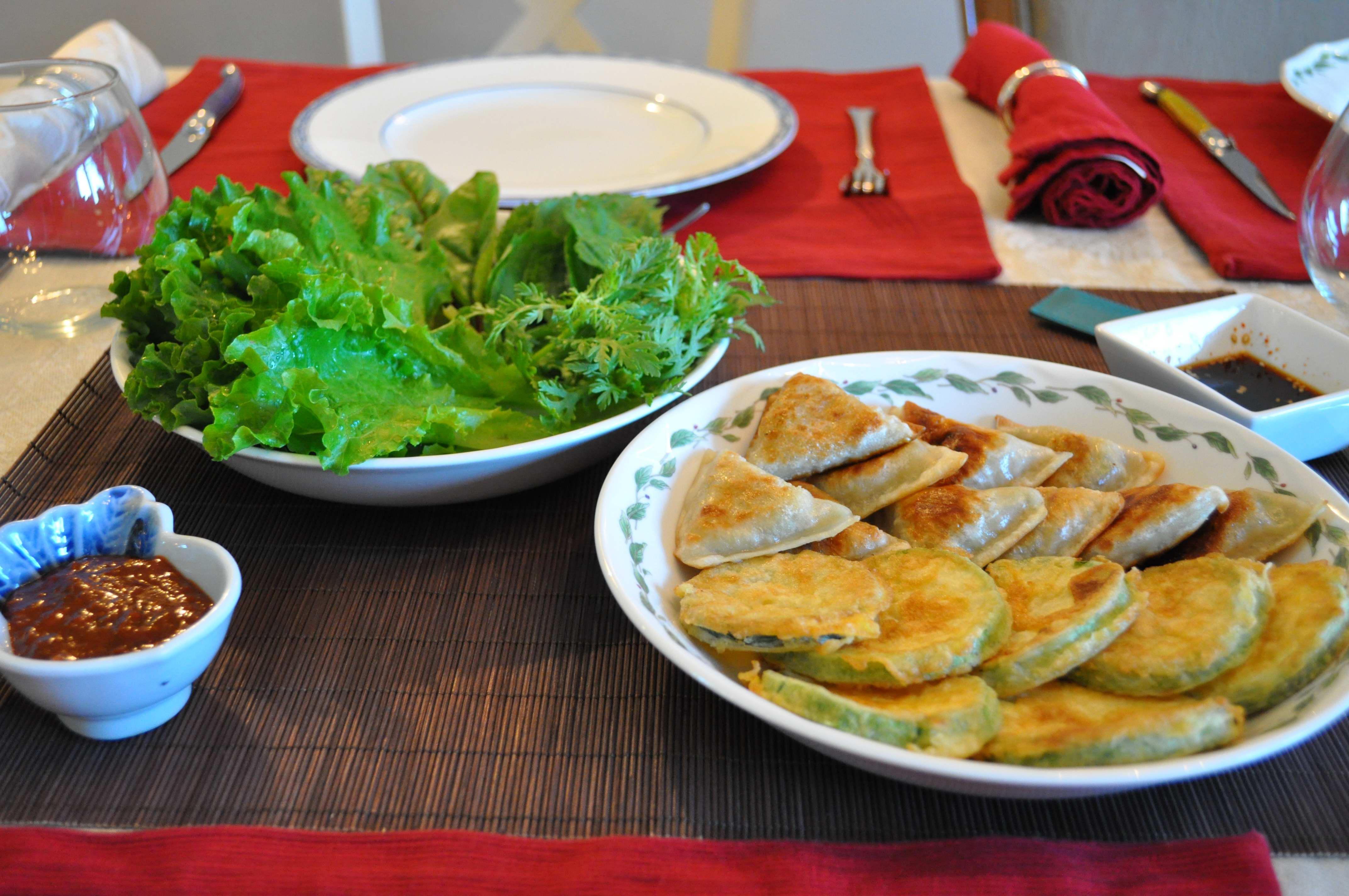 ssamjang, ssam, dumplings, hobahkjeon, soy sauce