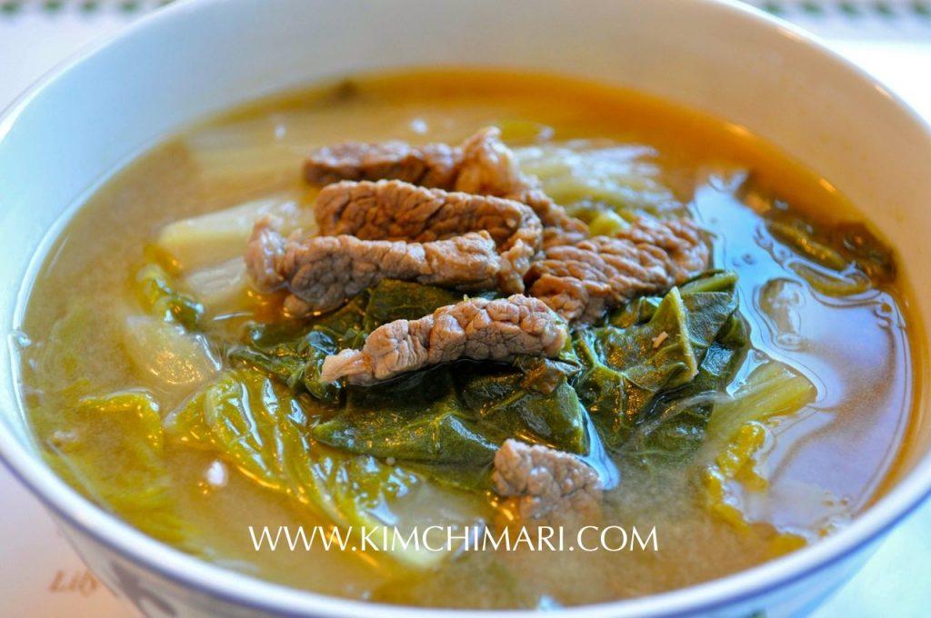 Korean cabbage soup with fermented soybean paste. Baechu Deonjang Guk or Baechu Dwenjang Gook
