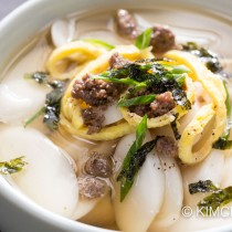 Anchovy Broth Rice Cake Soup with Gyeran Jidan (Tteokguk 떡국)