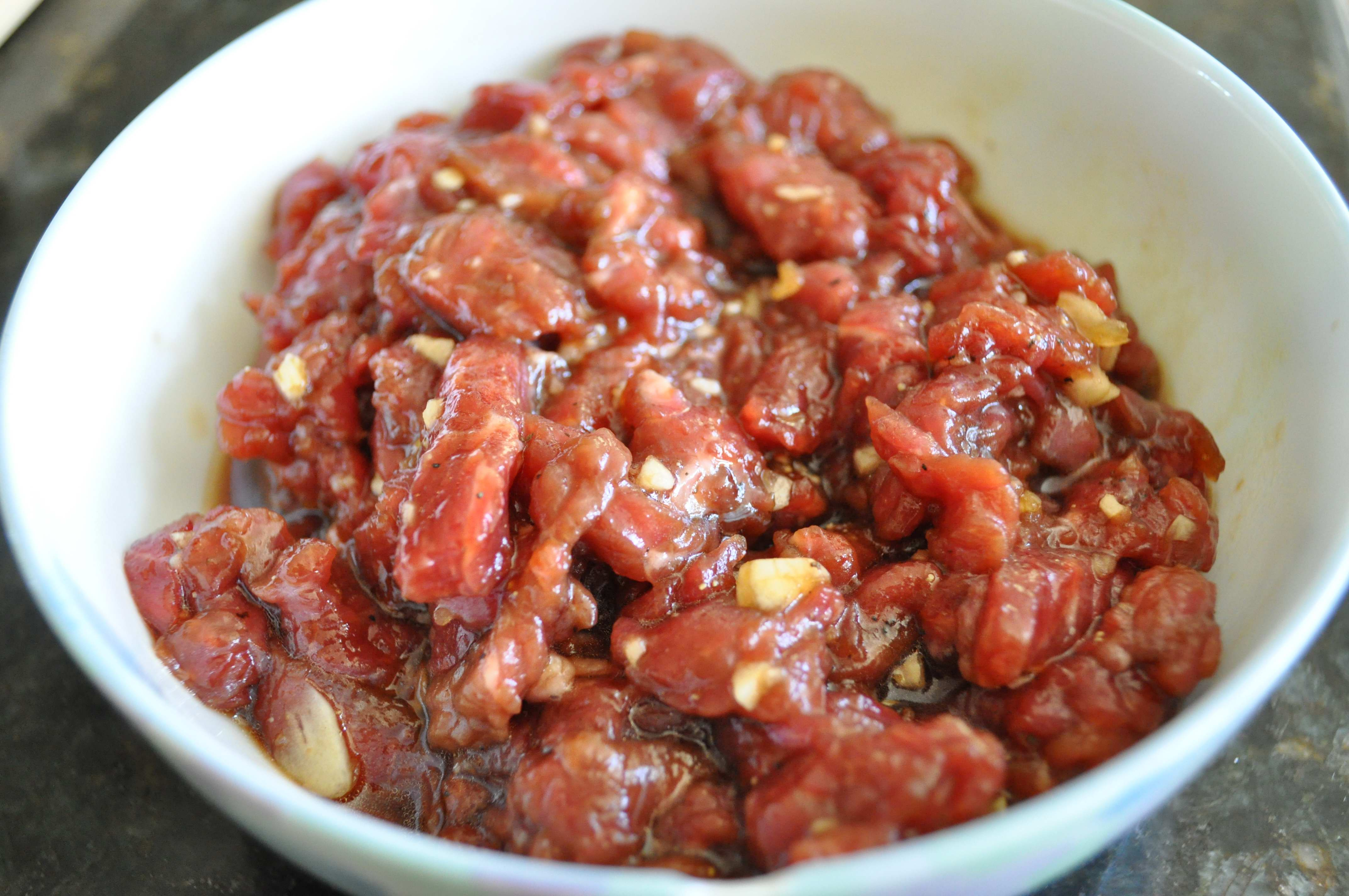marinated beef strips for rice cake soup