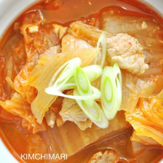Kimchi stew (jjigae) with pork belly