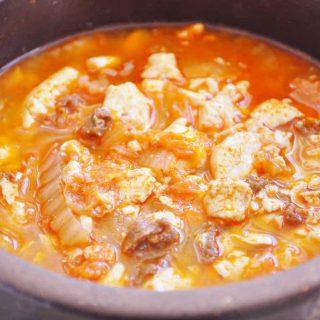 Soondubu Jjigae with Kimchi (Spicy Soft Tofu Stew)
