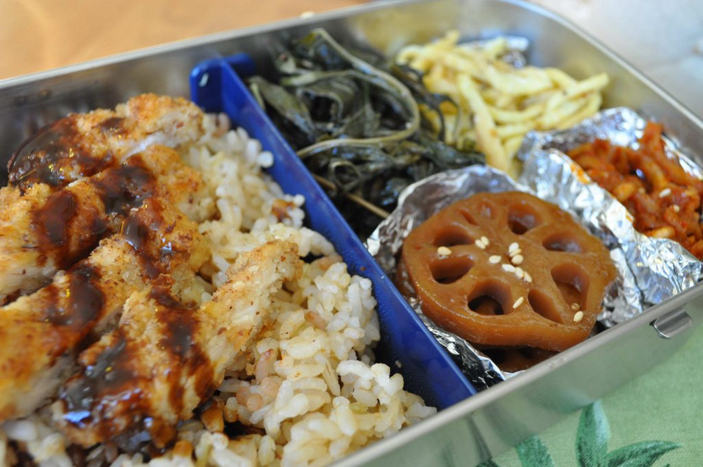 Korean lunchbox (rice, chicken cutlet, chwinamul, lotus roots, egg, moo malengi)
