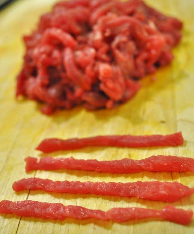 Beef cut into strips for Japchae