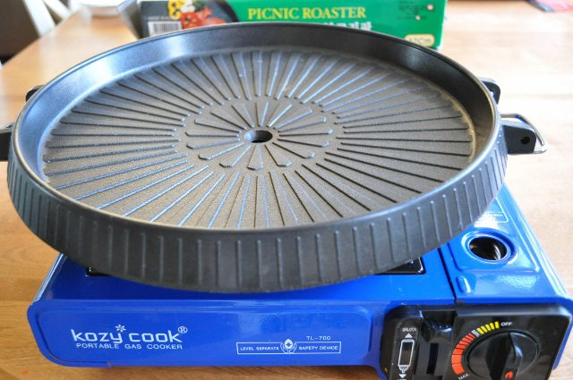 Portable gas stove and Korean grill pan