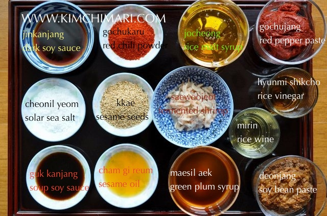Korean seasonings - list of essentials with labels