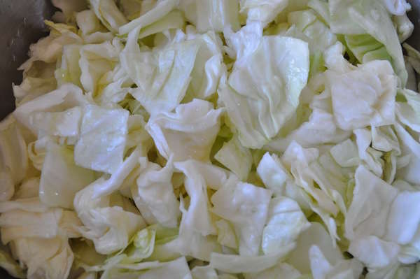 Cut cabbages pickling in brine