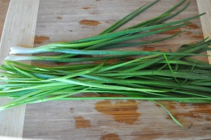 cleaned green onions and chives