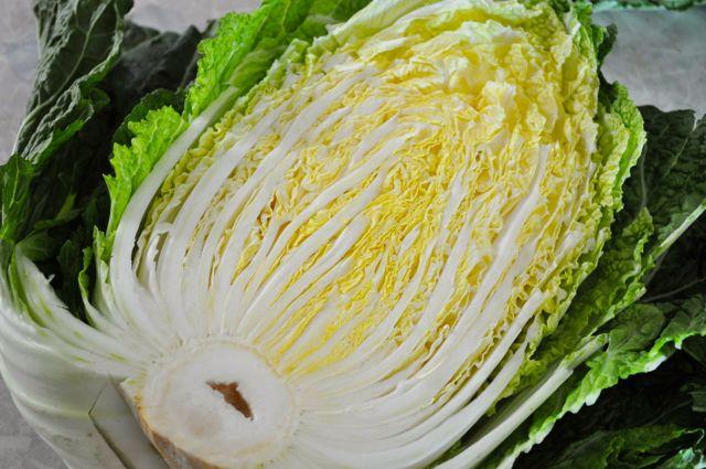 Korean napa cabbage cut in half