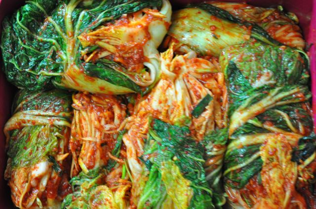 kimjang kimchi in container