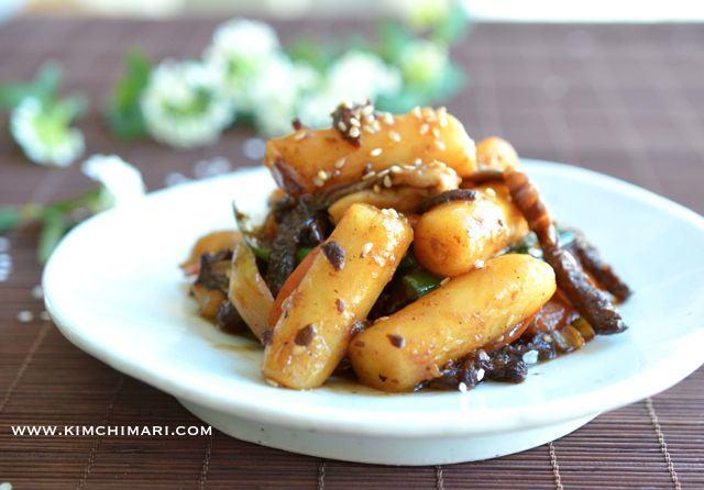 Rice Cake Stir Fry With Soy Sauce Gungjung Tteokbokki Kimchimari