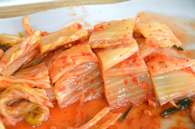 Kimchi sliced for Budae Jjigae