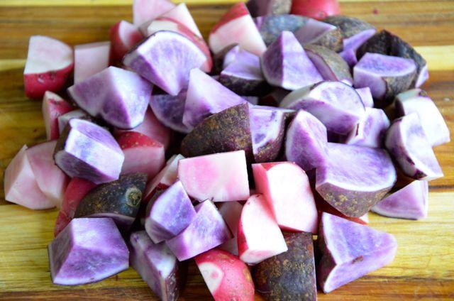 cut colored potatoes for gamjajeon