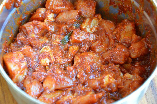 Chicken marinated for Dakgalbi Chuncheon Chicken