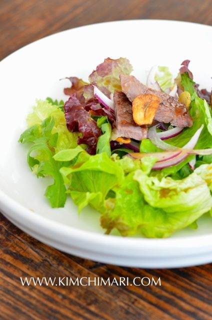 Korean ribeye steak salad with soy plum dressing
