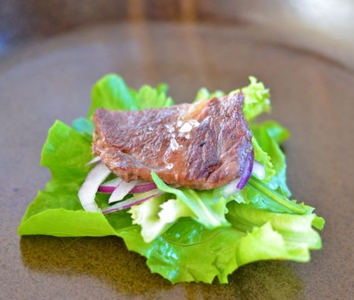 JJ's style Korean rib eye steak salad