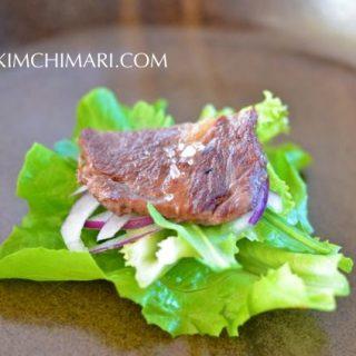 JJ's style Korean rib eye steak salad with ssam elements