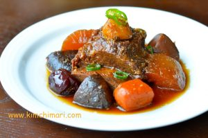 Galbi Jjim (Korean Braised Short Ribs) plated