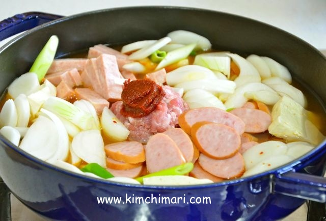 jjigae in pot with water