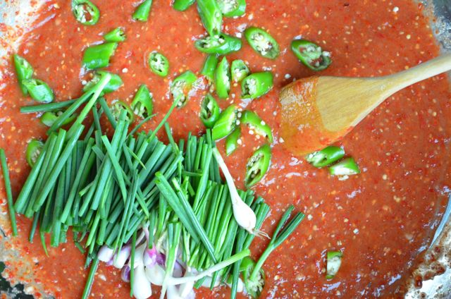Kimchi seasoning with bunching onions, green chilis