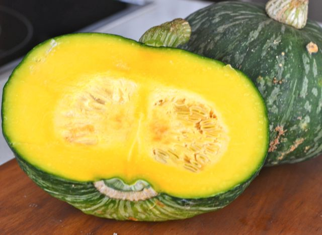 Cut half of Korean Danhobak(단호박) or Kabocha Squash
