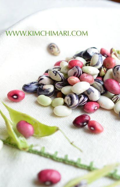 Colorful Fresh Beans (closeup of Zebra, Kidney, Green beans)