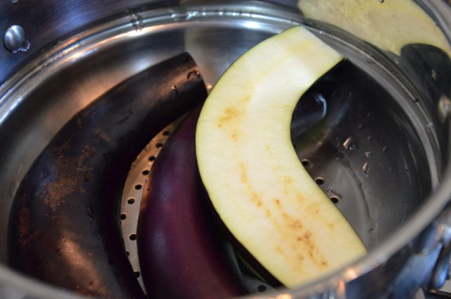 steaming eggplant for namul
