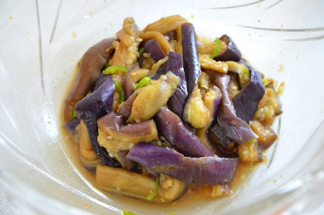 steamd eggplant tossed in sauce