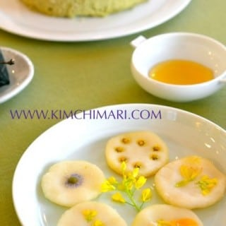Korean sweet rice pancake made with fresh flowers
