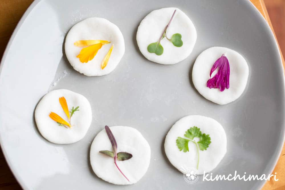 uncooked raw korean flower pancake made with different edible flowers