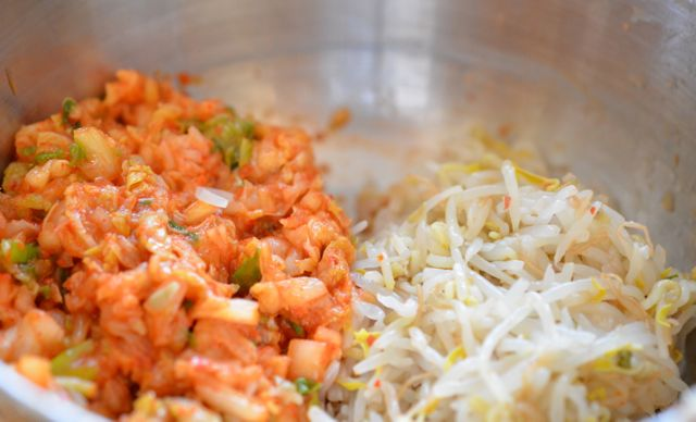 chopped kimchi and bean sprouts for mandu stuffing