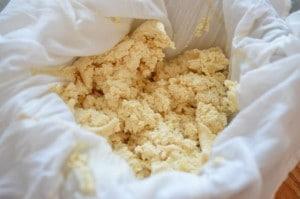 Tofu pressed in cheese cloth