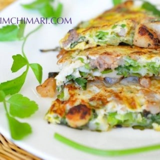 Korean Pancake with Green Onions and Seafood (Dongrae Haemul Pajeon)
