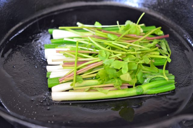 Green onions and Minari in pan