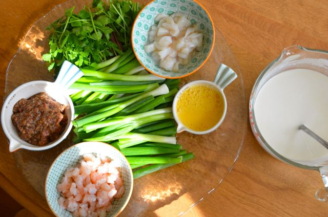 Pajeon ingredients all set up in bowls and plates - mis en place