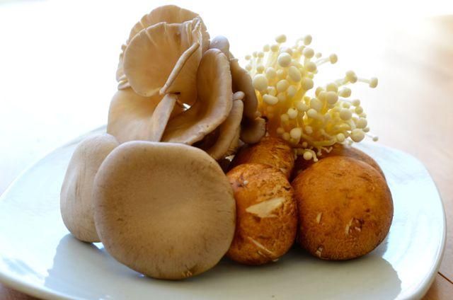 Mushrooms for Korean Mushroom Rice (Oyster, Enoki, King, Brown Mushrooms)
