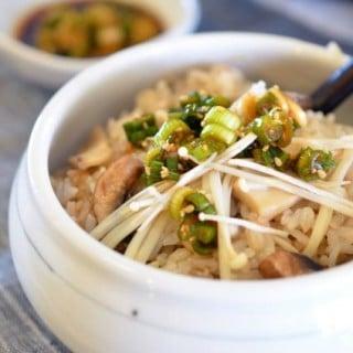Korean Four Mushroom Rice in Stone Pot (버섯밥 Beoseot Bap)